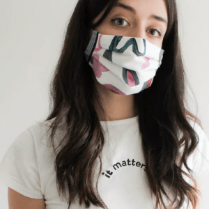vegan reusable face masks, women wearing a vegan friendly face mask