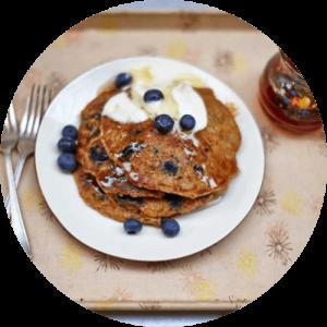 jamie oliver blueberry vegan pancakes, vegan pancakes, vegan pancake recipe
