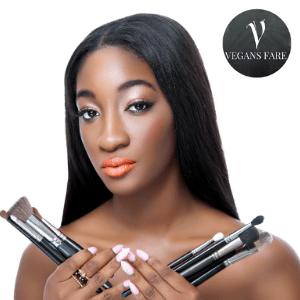 black owned vegan make up, black women holding make up brushes with long straight hair