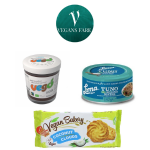 selection of vegan products for vegans fare