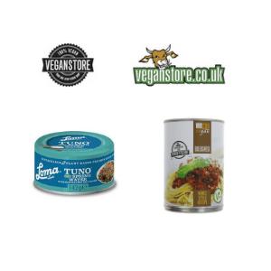 vegan store, selection of vegan food products like vegan tuna and vegan bolognese