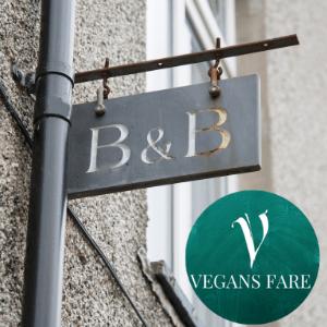uk vegan hotels, vegan B&B's VEgan Guest houses uk, Vegans Fare, Vegan B&B sign hanging outside building
