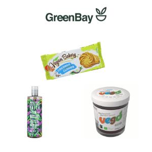 green bay, vegan supermarket in london green bay with vegan chocolate spread vegan cocunut biscuits and vegan shapoo, vegans fare