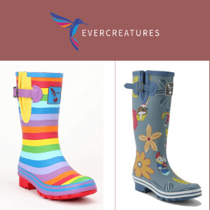 evercreatures, vegan friendly wellies in rainbow and flowers with animals