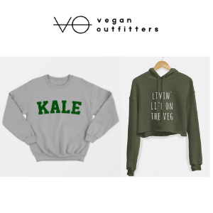 women's kale grey jumper and green living life on the veg hooded top, vegan outfitters, vegan clothing brands