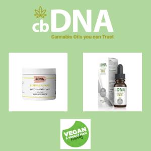 cbdna, vegan cbd oil bottle and cbd vegan moisturiser face cream, vegan cbd,
