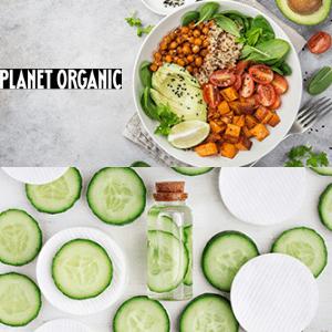 planet organic, vegan shop, vegan meal with cucumber organic beauty product