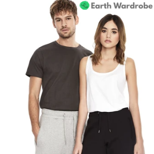earth wardrobe man and woman sustainable clothing vest and t shirt and sweatpants, vegan clothing brands, men's vegan clothing