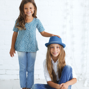 vegan girls wearing trendy vegan clothing for kids, vegan clothing brands
