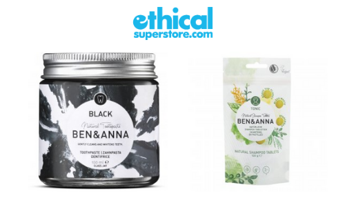 ethical superstore products vegan black toothpaste and vegan shampoo tablets by ben and anna, vegan health and wellbeing