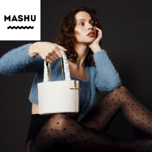 designer vegan leather handbag by mashu accessories brand label